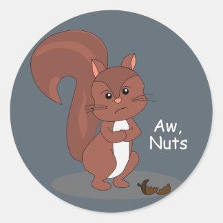 """Aw Nuts"" Squirrel Classic Round Sticker"