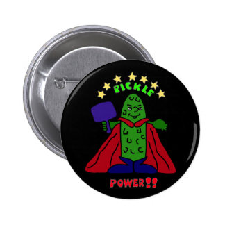 AW- Pickle Power Superhero Pickleball Cartoon 2 Inch Round Button