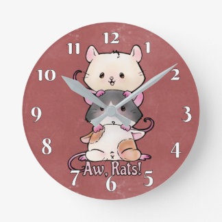 Aw, Rats! Round Clock