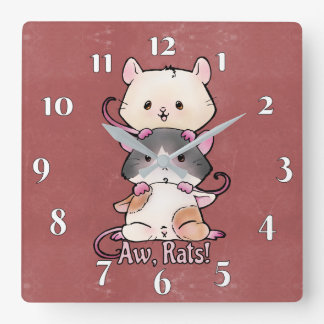 Aw, Rats! Square Wall Clock