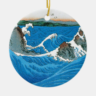 Awa Province, Naruto Whirlpools by Ando Hiroshige Ceramic Ornament