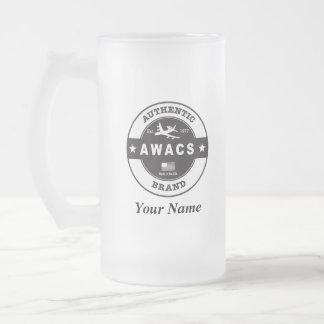 AWACS Circle Badge Frosted Glass Beer Mug