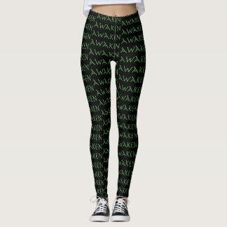 Awaken in Green on Black Yoga Pants