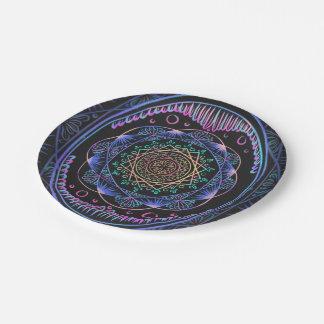 Awakening zen pattern, reiki, healing, chakra paper plate