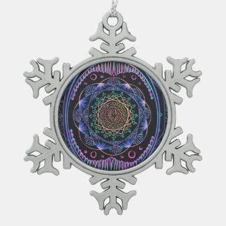 Awakening zen pattern, reiki, healing, chakra snowflake pewter christmas ornament