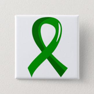 Awareness Ribbon 3 Traumatic Brain Injury TBI 2 Inch Square Button