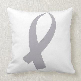 Awareness Ribbon (Gray) Throw Pillow