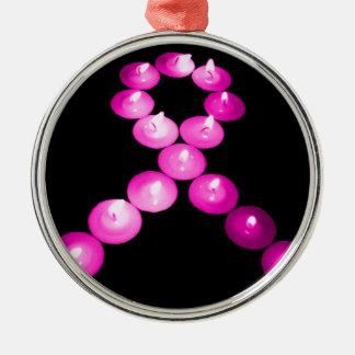 Awareness Ribbon Pink Candles Christmas Tree Ornament