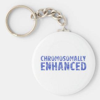 Awareness tee Chromosomally enhanced Basic Round Button Keychain
