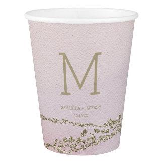Awash Elegant Watercolor Blush Wedding Monogram Paper Cup