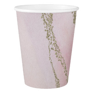Awash Elegant Watercolor in Blush Wedding Paper Cup
