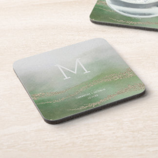 Awash Elegant Watercolor in Foliage Wedding Monogr Coaster