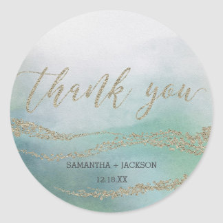 Awash Elegant Watercolor in Ocean Monogram Wedding Classic Round Sticker