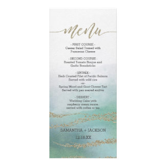 Awash Elegant Watercolor in Ocean Wedding Menu