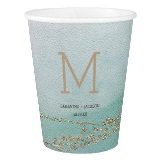 Awash Elegant Watercolor in Ocean Wedding Monogram Paper Cup
