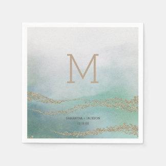 Awash Elegant Watercolor in Ocean Wedding Monogram Paper Napkin