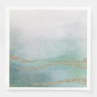 Awash Elegant Watercolor in Ocean Wedding Paper Napkin