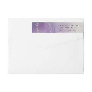 Awash Elegant Watercolor in Orchid Purple Wedding Wrap Around Label