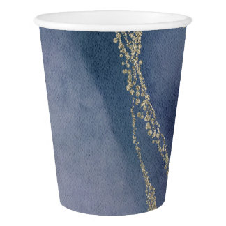 Awash Elegant Watercolor in Surf Wedding Paper Cup