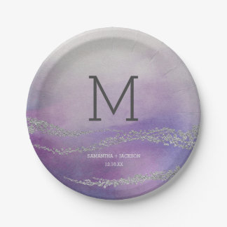 Awash Elegant Watercolor Orchid Wedding Monogram Paper Plate