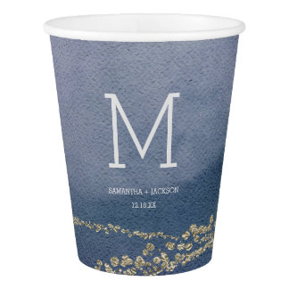 Awash Elegant Watercolor Surf Wedding Monogram Paper Cup