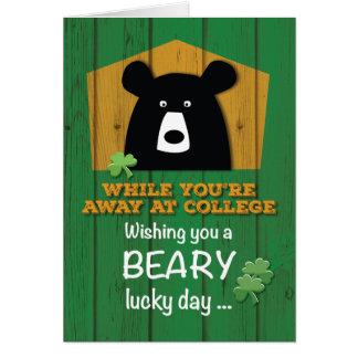 Away at College Bear & Shamrocks on St. Patrick's Card