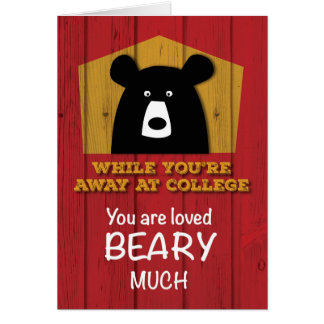 Away at College, Valentine Bear Wishes on Red Wood Card