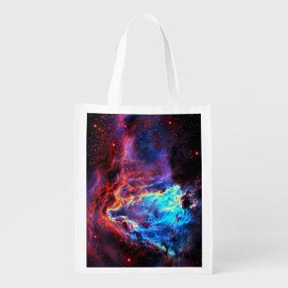 Awe-Inspiring Color Composite Star Nebula Reusable Grocery Bag