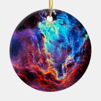 Awe-Inspiring Color Composite Star Nebula Round Ceramic Ornament