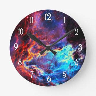 Awe-Inspiring Color Composite Star Nebula Round Clock