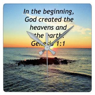 AWE-INSPIRING GENESIS 1:1 SUNRISE PHOTO DESIGN SQUARE WALL CLOCK