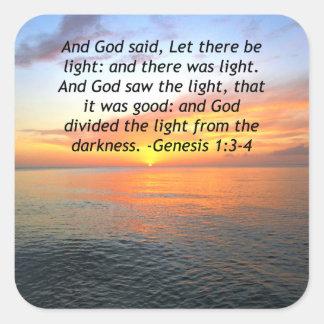 AWE-INSPIRING GENESIS 1:3 SUNRISE PHOTO DESIGN SQUARE STICKER