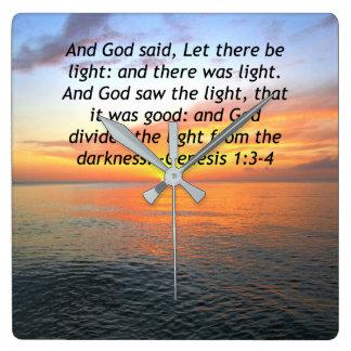 AWE-INSPIRING GENESIS 1:3 SUNRISE PHOTO DESIGN SQUARE WALL CLOCK
