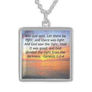 AWE-INSPIRING GENESIS 1:3 SUNRISE PHOTO DESIGN STERLING SILVER NECKLACE