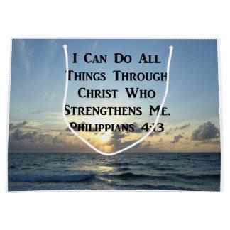 AWE-INSPIRING PHILIPPIANS 4:13 SCRIPTURE VERSE LARGE GIFT BAG