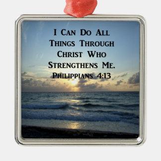 AWE-INSPIRING PHILIPPIANS 4:13 SCRIPTURE VERSE METAL ORNAMENT