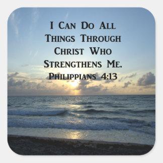 AWE-INSPIRING PHILIPPIANS 4:13 SCRIPTURE VERSE SQUARE STICKER