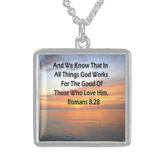 AWE-INSPIRING ROMANS 8:28 SCRIPTURE VERSE STERLING SILVER NECKLACE