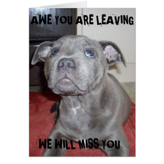 Awe_Your_Leaving_Staffordshire_Puppy_Miss_You_Card Greeting Card