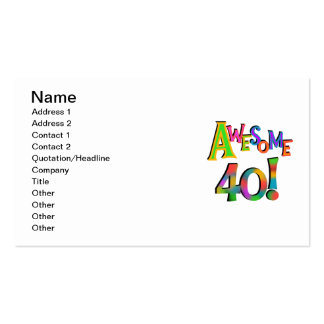 Awesome 40 Birthday T-shirts and Gifts Business Card Templates