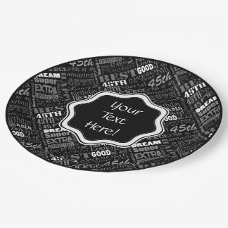 Awesome 45th Birthday Party Personalized Monogram Paper Plate