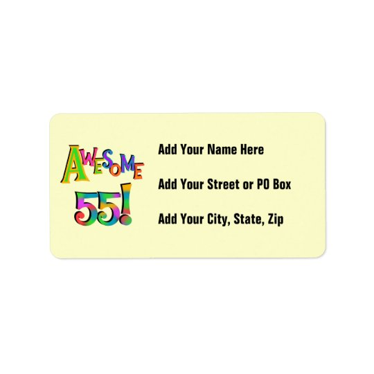 Awesome 55 Birthday T-shirts and Gifts Label