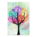 Awesome abstract pastel colours oil paint tree customized stationery