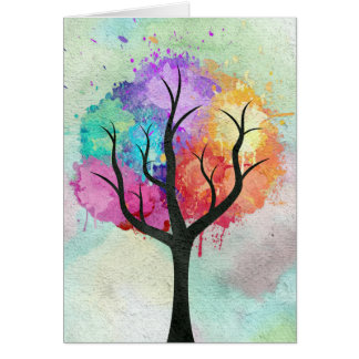 Awesome abstract pastel colours oil paint tree greeting card