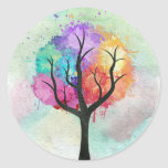 Awesome abstract pastel colours oil paint tree round sticker
