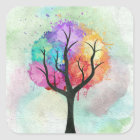 Awesome abstract pastel colours oil paint tree square sticker