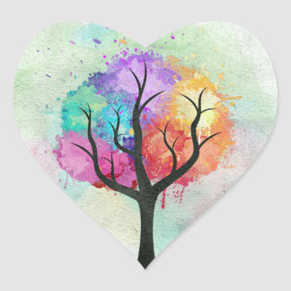 Awesome abstract pastel colours oil paint tree heart stickers