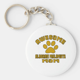 AWESOME ALASKAN MALAMUTE MOM BASIC ROUND BUTTON KEYCHAIN