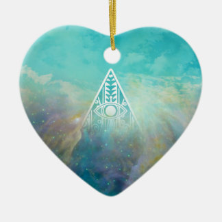 """Awesome """"All seeing eye"""" triangle Orion nebula Ceramic Heart Ornament"""
