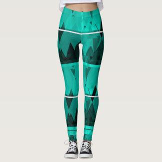 Awesome aqua blue abstract leggings